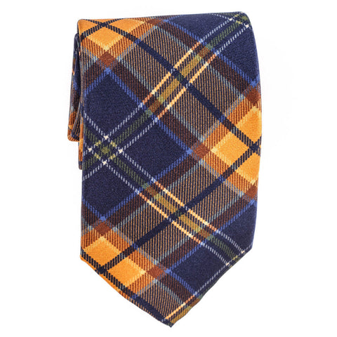 Atrani Navy Check Silk Tie
