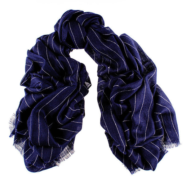 Navy Pinstripe Oversized Cashmere Scarf