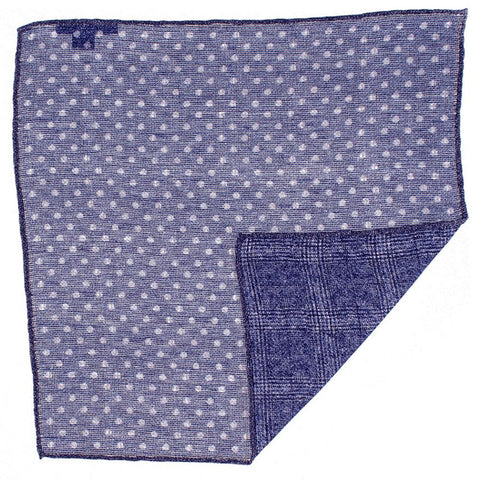Navy and White Reversible Linen and Cotton Pocket Square