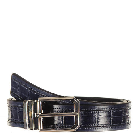 Navy Italian Textured Calf Leather Belt