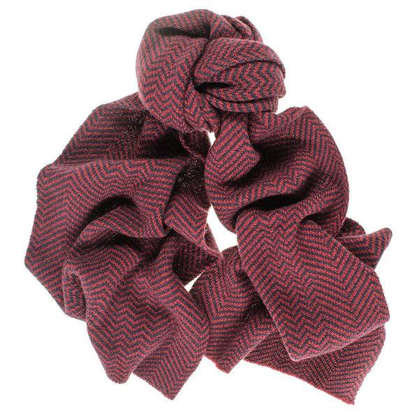 Navy and Burgundy Herringbone Cashmere Scarf