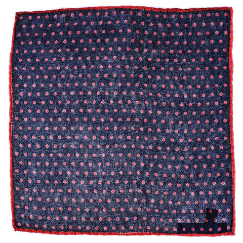 Navy and Red Polka Dot Cashmere Pocket Square