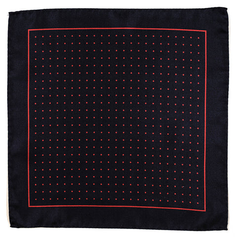 Navy and Red Polka Dot Italian Silk Pocket Square