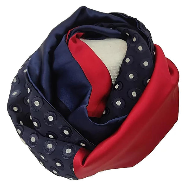 Navy and Red Silk Snood
