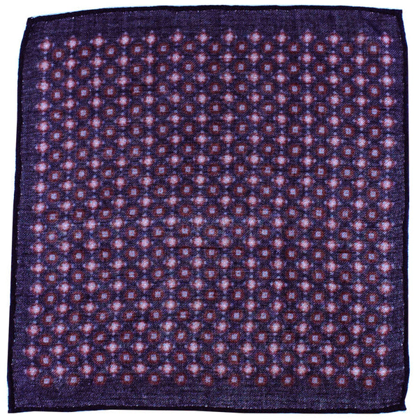 Navy and Red Print Wool Pocket Square