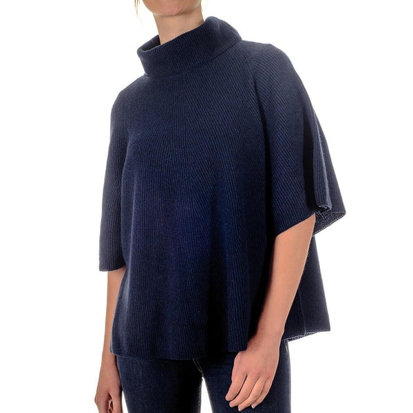 Navy Roll Neck Cashmere Sleeved Poncho