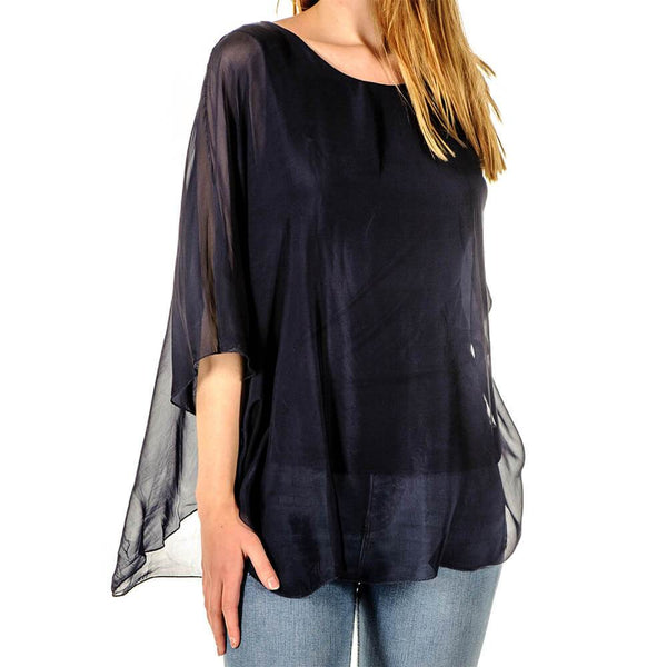 Sofia - Navy Silk Top