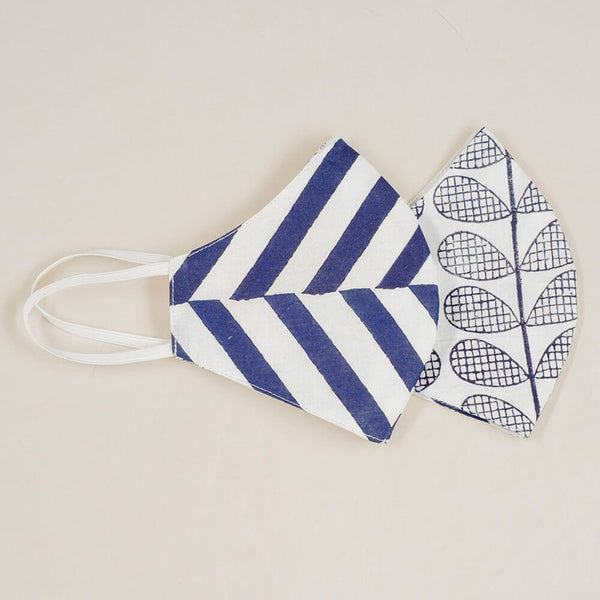 Leaf and Stripe Reversible Organic Cotton Face Mask