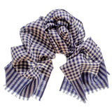 Navy and White Check Superfine Cashmere Cravat Set