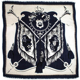 Hana Heraldic Wool and Silk Square Scarf