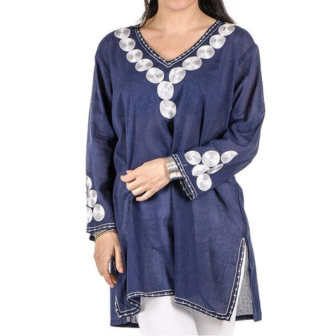 Navy and White Embroidered Cotton Kaftan Top