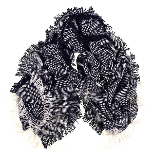 Navy and White Antique Loom Cashmere Scarf