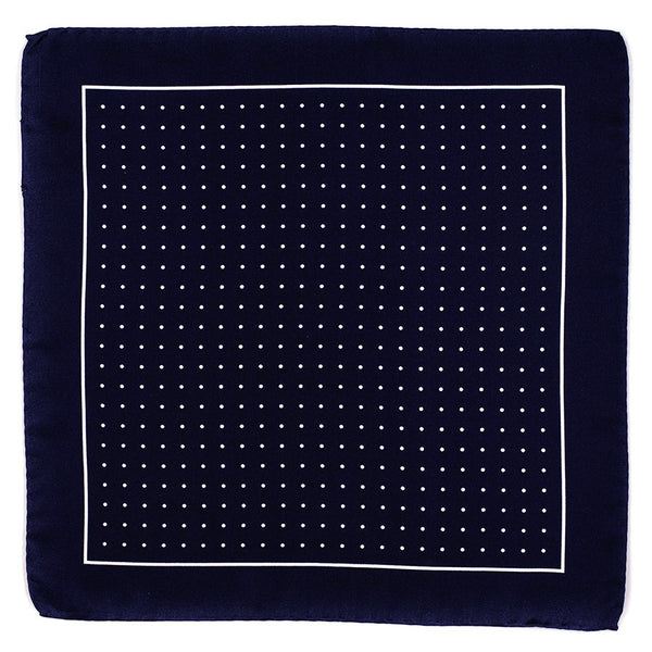 Navy and White Polka Dot Italian Silk Pocket Square