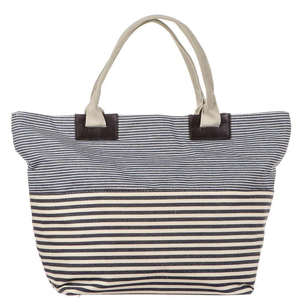 Navy and White Striped Beach Bag