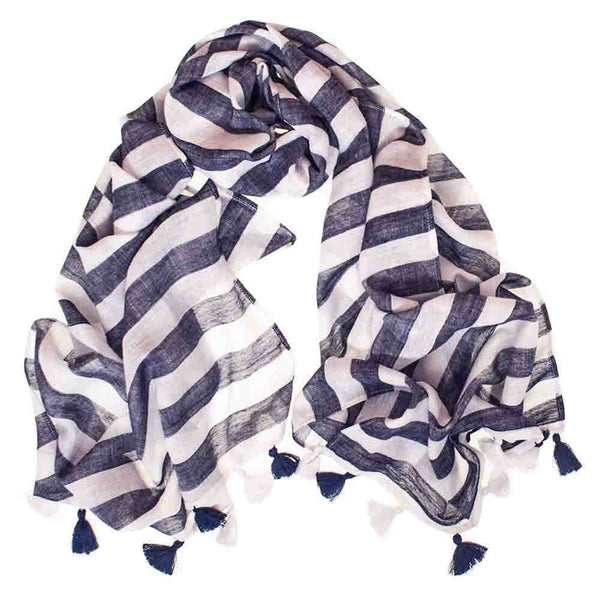 Navy and White Striped Cotton Scarf