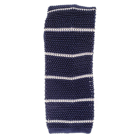 Navy and White Striped Italian Silk Knitted Tie