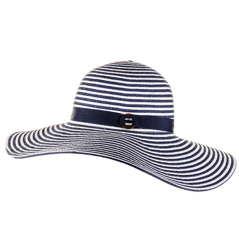 Nautical Navy and White Striped Wide Brim Sun Hat