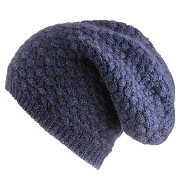 Navy Basketweave Cashmere Slouch Beanie