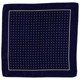 Navy and Yellow Polka Dot Italian Silk Pocket Square