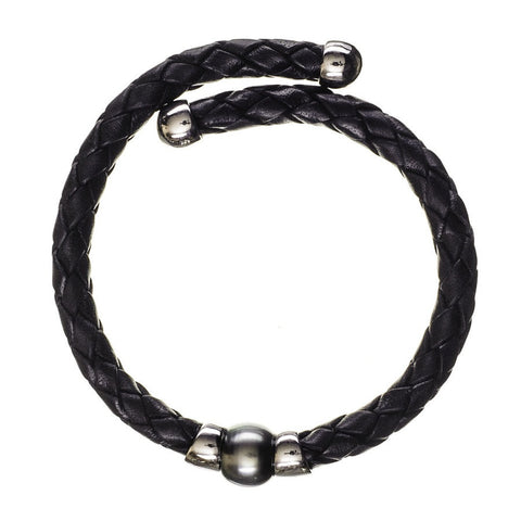 Oberon Tahitian Black Pearl Silver and Leather Bracelet