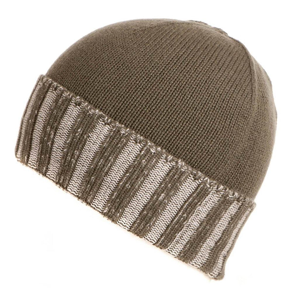 Military Green and Chalk Cashmere Beanie