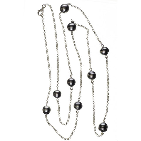 Ophelia Tahitian Black Pearl Infinity Necklace
