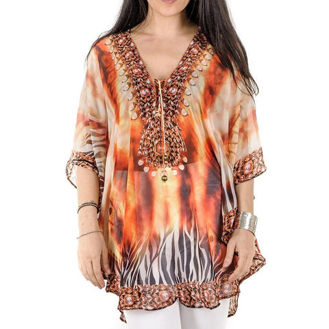 Flame and Pearl Print Kaftan