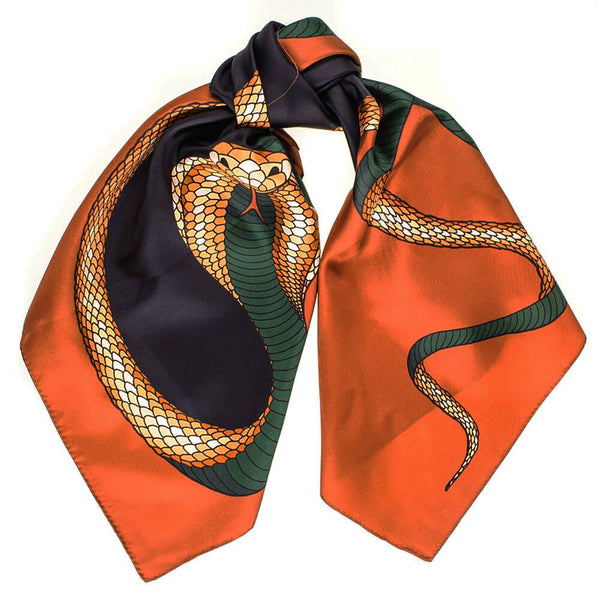 Copper and Black Snake Print Silk Scarf