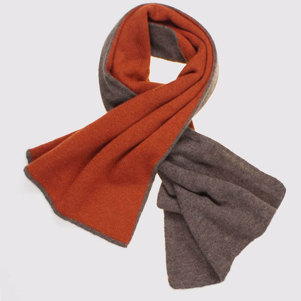 Paprika and Brown Double Faced Cashmere Neck Warmer