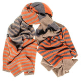 Rust and Brown Multi Striped Cashmere Scarf