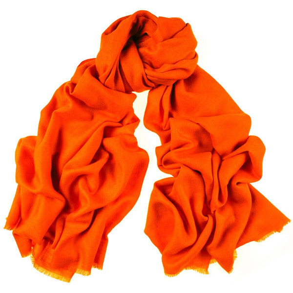 Flame Orange Cashmere Ring Shawl