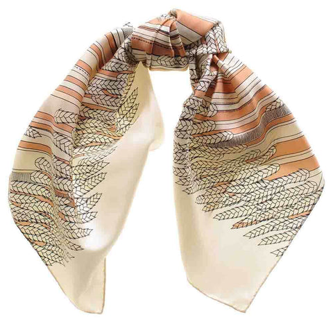 Cinnamon and Butterscotch  Print Silk Twill Scarf
