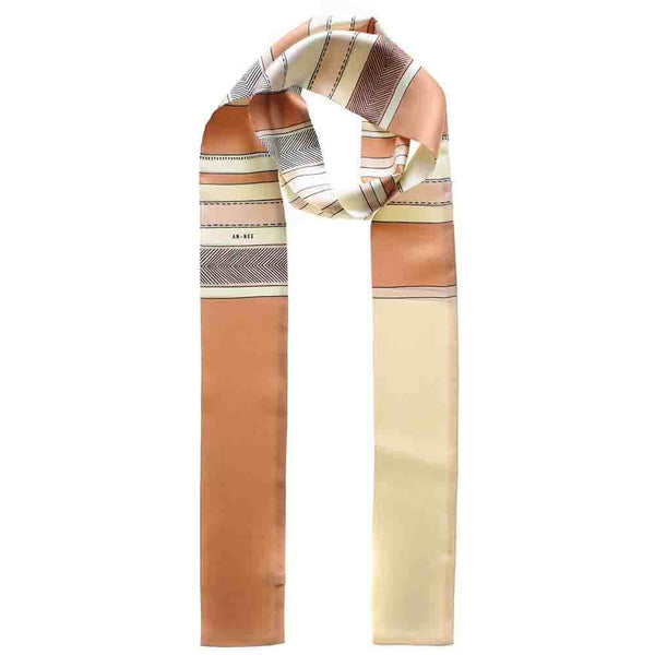 Cinnamon and Butterscotch Skinny Silk Twill Scarf