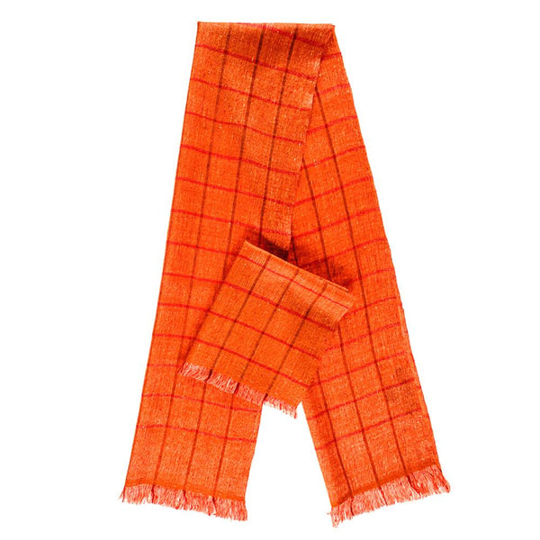 Flame Orange Check Superfine Cashmere Cravat Scarf Set