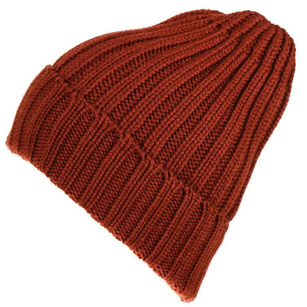 Russet Chunky Rib Knit Cashmere Beanie