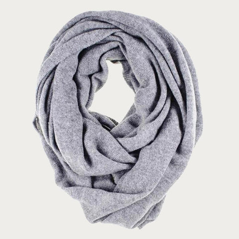 Grey Double Size Knitted Cashmere Snood