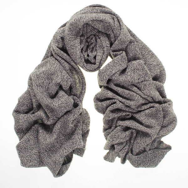 Oversized Black and Grey Cashmere Knit Scarf