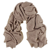 Oversized Light Brown Cashmere Knit Scarf