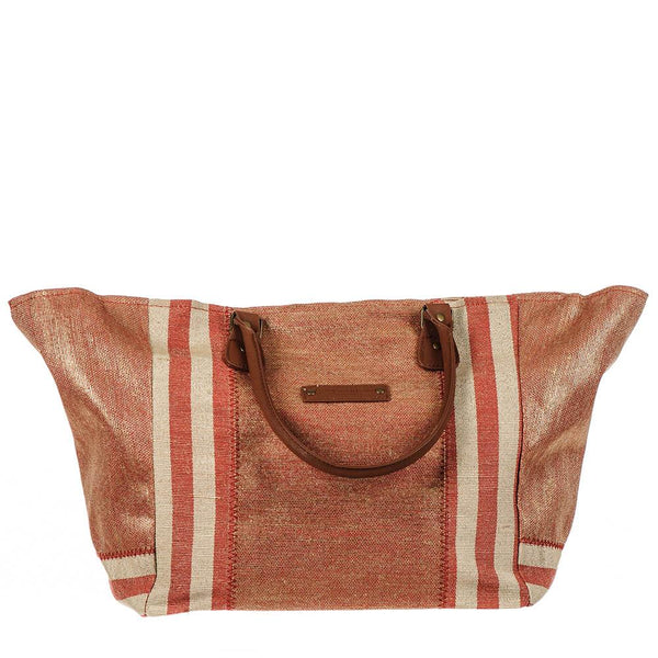 Paros Red and Gold Hessian Beach Tote Bag