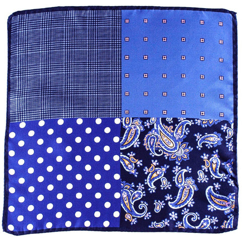 Patchwork Print Silk Pocket Square