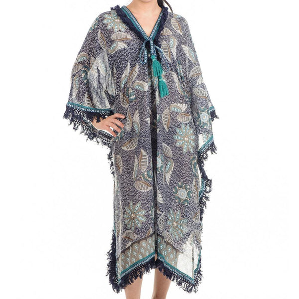 Peacock Print Long Cotton Kaftan
