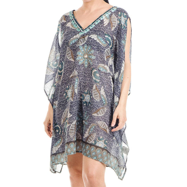 Slit Sleeve Printed Cotton Kaftan Top
