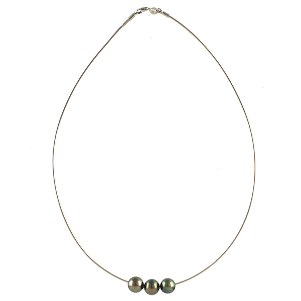 Perdita Triple Tahitian Black Pearl Necklace