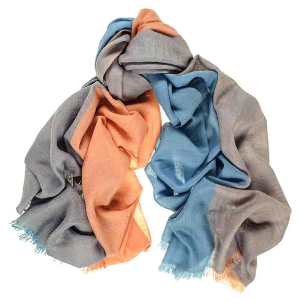 Duck Egg Blue and Coral Cashmere Stole