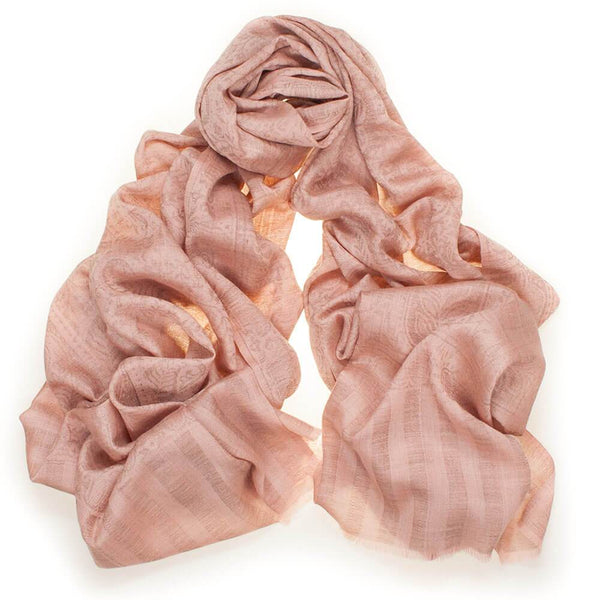 Pale Peach Jacquard Silk and Wool Scarf