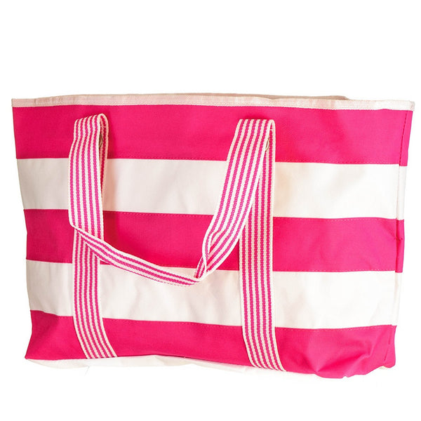 Rock Candy Hot Pink and White Striped Beach Bag