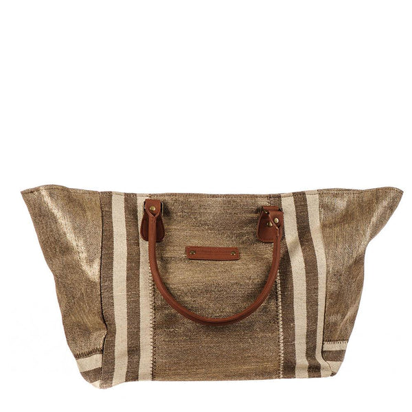 Porto Brown and Gold Hessian Beach Tote Bag