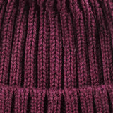 Wine Cashmere and Fur Bobble Hat