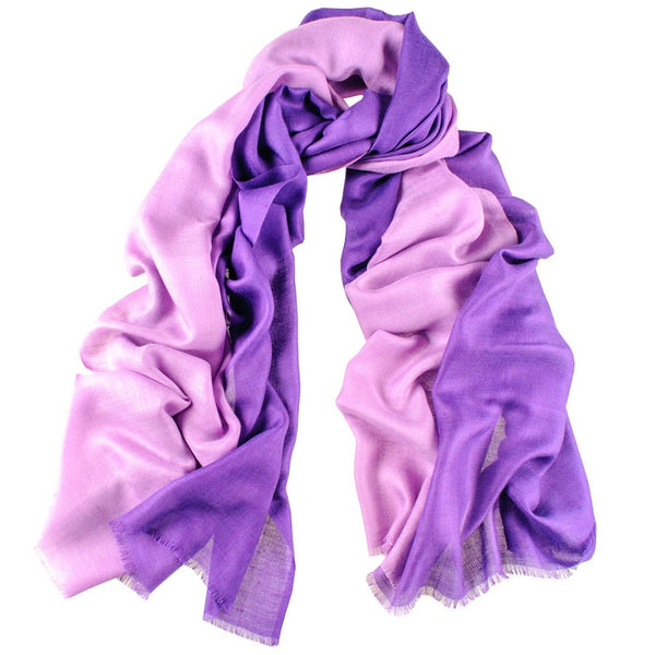 African Violet to Wisteria Cashmere and Silk Wrap