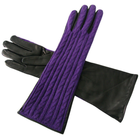 Long Purple Cashmere and Black Nappa Leather Gloves